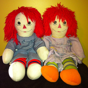 Raggedy Ann and Andy are used to represent my female and male distance clients.