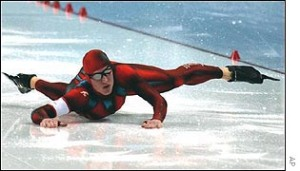 Jeremy Wortherspoon falling at the start line of the 2002 Olympics.  Photo: BBC Sports